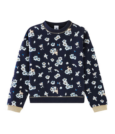 Sweatshirt enfant fille bleu Smoking / blanc Multico