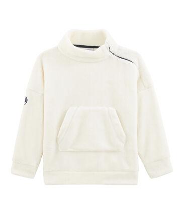 Wollig fleece sweatshirt jongens wit Marshmallow