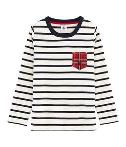 T-shirt met lange mouwen voor jongens wit Marshmallow / blauw Smoking