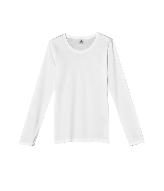 T-shirt fille manches longues uni à point cocotte blanc Ecume
