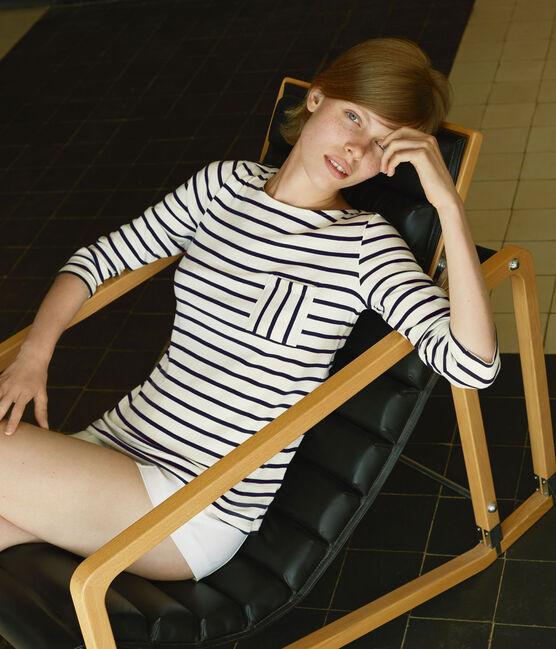 T-shirt femme manches longues en côte originale beige Coquille / blauw Smoking