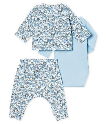 Set van drie items babyjongen van gebreide stof wit Marshmallow / wit Multico
