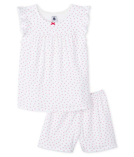 Pyjacourt cœur rose petite fille en côte blanc Ecume / rose Rose
