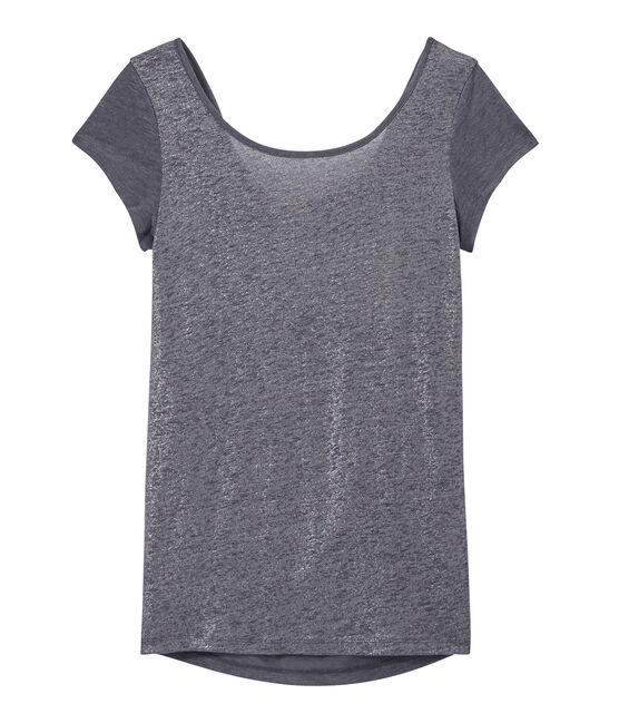 Linnen dames-T-shirt met wijde ruguitsnijding en iriserend effect grijs Maki / grijs Argent