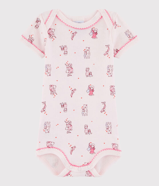 Body manches courtes bébé fille rose Vienne / blanc Multico