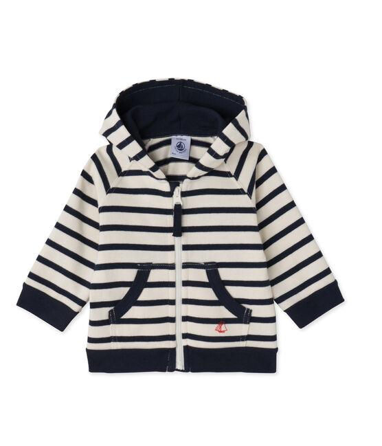 Sweat zippé bébé garçon en jersey lourd rayé beige Coquille / bleu Smoking