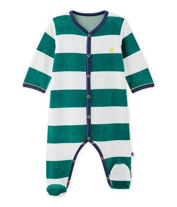 Gestreepte fluwelen pyjama voor babyjongens
