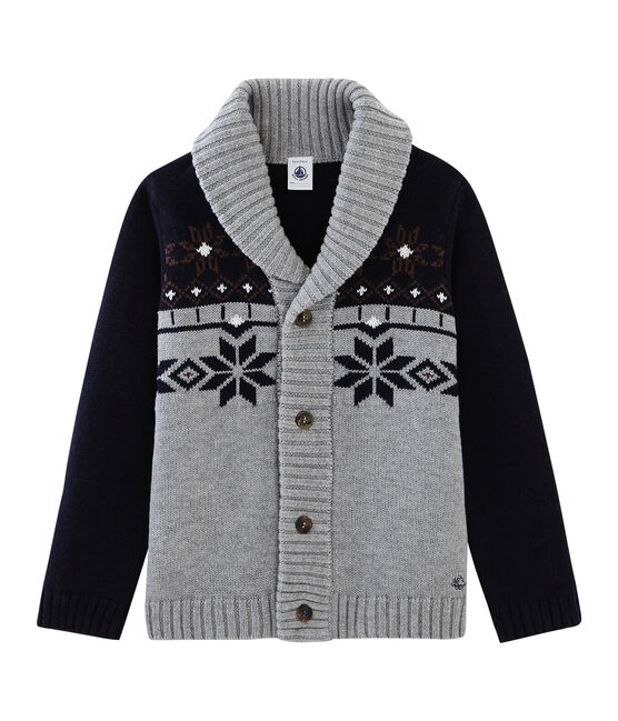 Tricot cardigan jongens grijs Subway / blauw Smoking