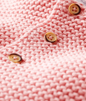 Cardigan van wol en katoen point mousse babymeisje roze Charme