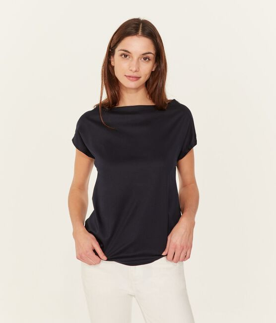 Tee shirt manches courtes coton Sea island femme bleu Marine