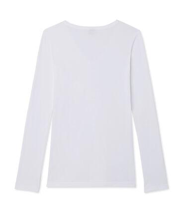 Tee shirt manches longues iconique femme blanc Ecume