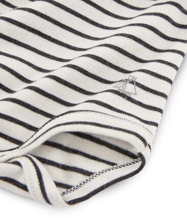 Body met lange mouwen en opgerolde kraag baby gemixt wit Marshmallow / zwart City