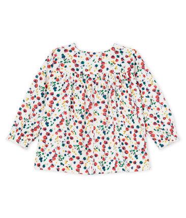 Blouse met lange mouwen met print babymeisje wit Marshmallow / wit Multico