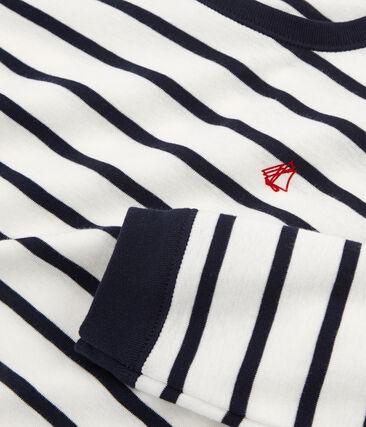 Jongenspyjama van gebreide stof wit Marshmallow / blauw Smoking