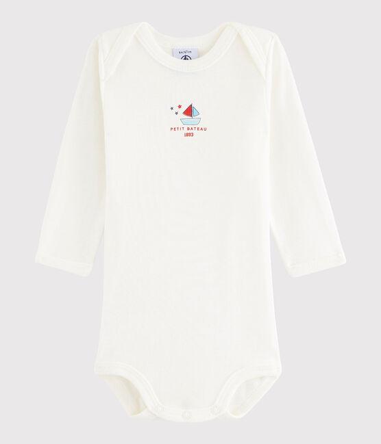 Rompertje met lange mouwen babymeisje - babyjongen wit Lait