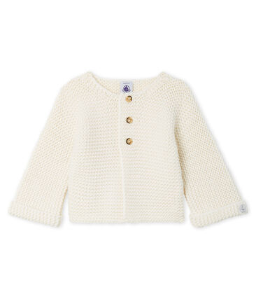 Cardigan laine et coton point mousse bébé fille blanc Marshmallow