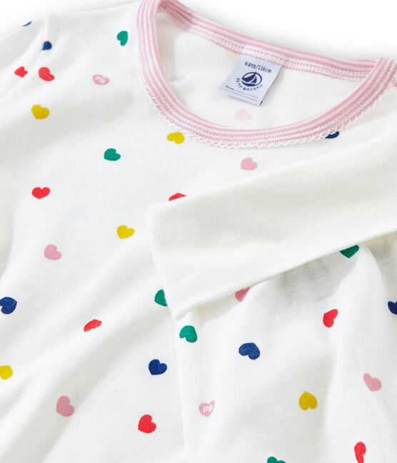 Hoge meisjespyjama van gebreide stof wit Marshmallow / wit Multico