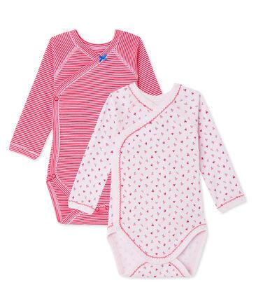 Set van twee eerste body's voor babymeisjes