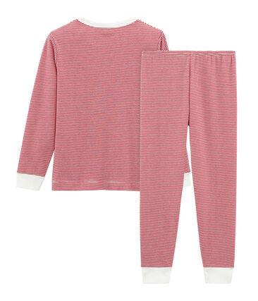 Pyjama garçon en côte rouge Carmin / blanc Marshmallow