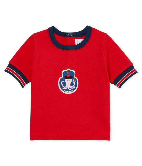 T-shirt met motiefje en lange mouwen voor babyjongens rood Terkuit