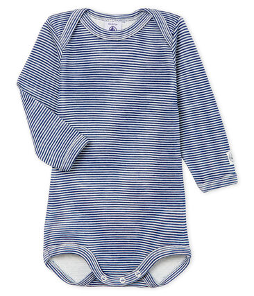 Body manches longues bébé en laine et coton bleu Medieval / blanc Marshmallow