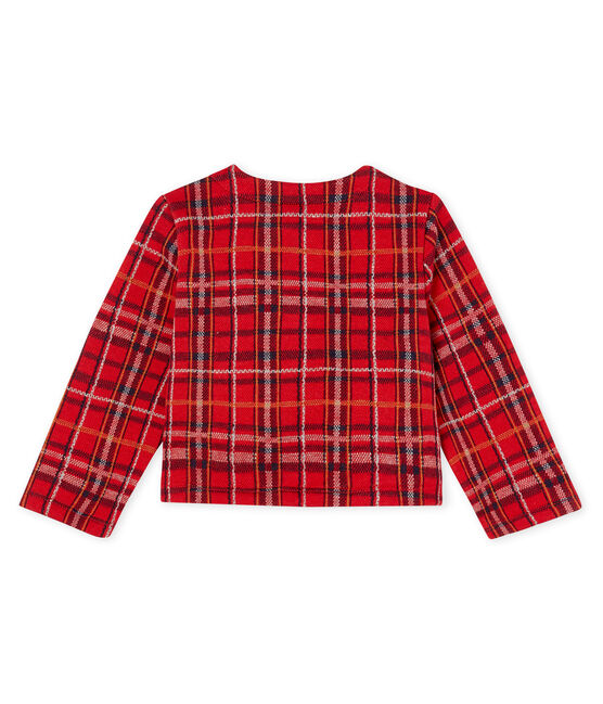 Cardigan bébé fille à carreaux rouge Terkuit / blanc Multico