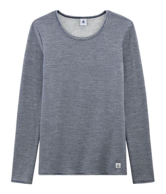 Extra warm T-shirt met lange mouwen vrouwen blauw Smoking / wit Marshmallow