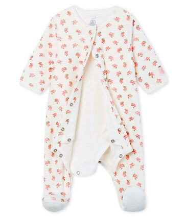 Fluwelen bodyjama babymeisje wit Marshmallow / wit Multico