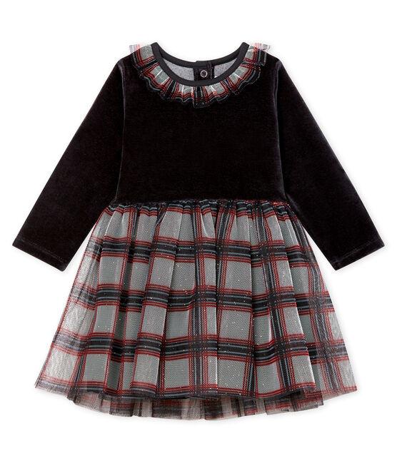 Robe manches longues bi-matière bébé fille noir Noir / blanc Multico
