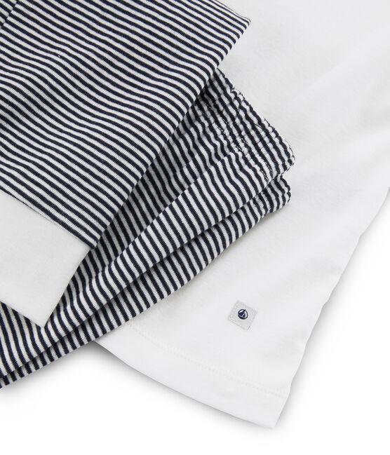 Pyjama femme en tubique blanc Marshmallow / bleu Smoking