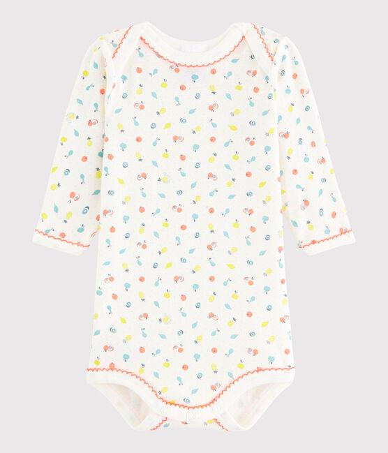 Rompertje lange mouwen babymeisje wit Lait / wit Multico