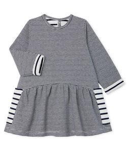 Gestreepte jurk met lange mouwen babymeisje blauw Smoking / wit Marshmallow