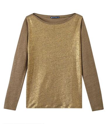 Linnen dames-T-shirt met lange mouwen en iriserend effect bruin Shitake / geel Or