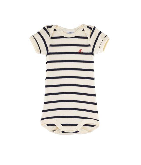 Rompertje met korte mouwen babymeisje - babyjongen beige Coquille / blauw Smoking