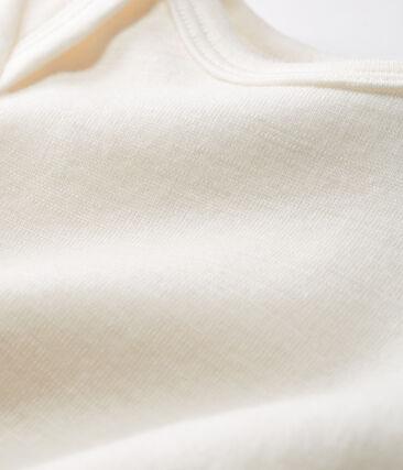 Rompertje lange pijpen van wol en katoen baby beige Ecru