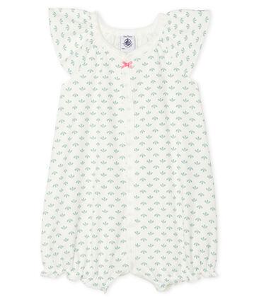 Kort babypakje voor meisjes met zijopening wit Marshmallow / wit Multico
