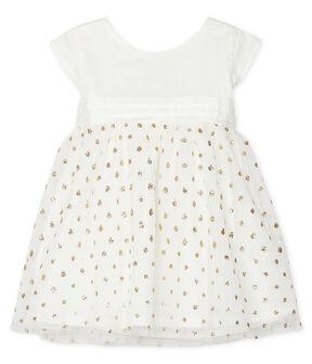Robe bébé fille blanc Marshmallow / jaune Or