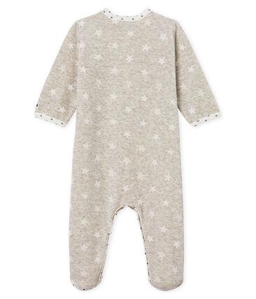 Fluwelen slaappakje babyjongen grijs Beluga / wit Marshmallow