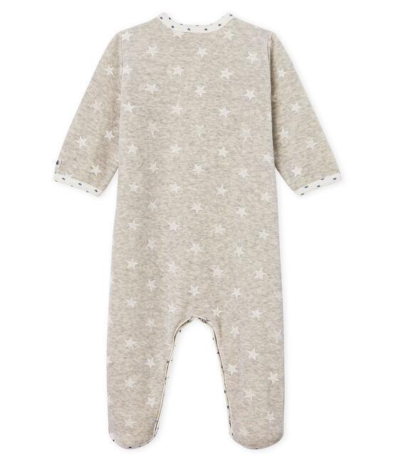 Dors bien bébé garçon en velours gris Beluga / blanc Marshmallow