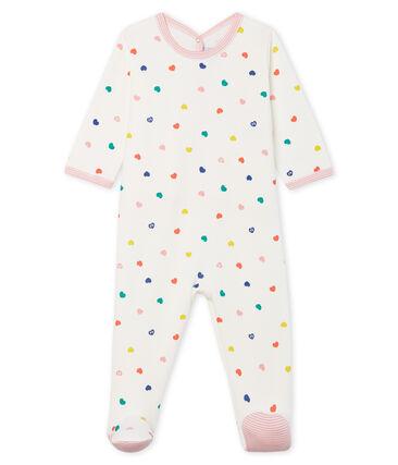Slaappakje van molton voor babymeisjes wit Marshmallow / wit Multico