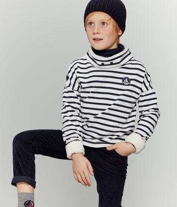 Sweatshirt enfant garçon blanc Marshmallow / bleu Smoking