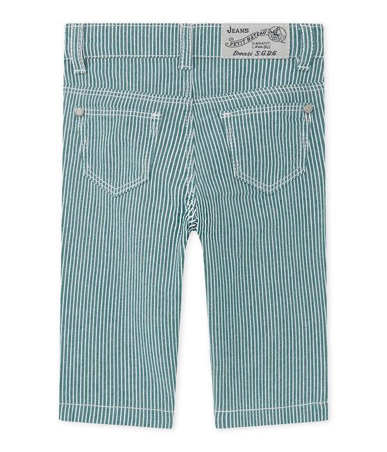 Pantalon bébé garçon rayé vert Olivier / blanc Marshmallow