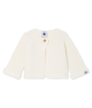 Cardigan bébé en tricot 100% coton blanc Marshmallow