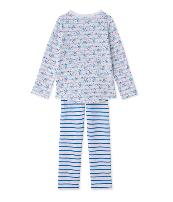 Omkeerbare meisjespyjama in tubic wit Ecume / blauw Bleu