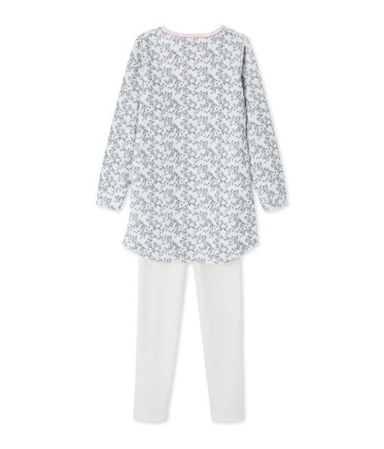 Meisjesnachthemd met legging wit Marshmallow / wit Multico