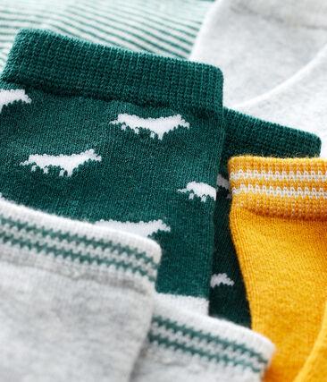 Set van 5 paar sokken voor baby jongen van katoenjersey. groen Sousbois / wit Multico
