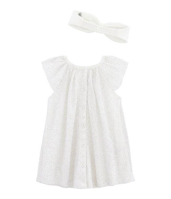 Jurk met korte mouwen met haarband babymeisje wit Marshmallow / geel Or
