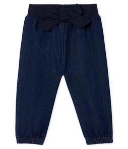 Pantalon maille effet denim bébé fille