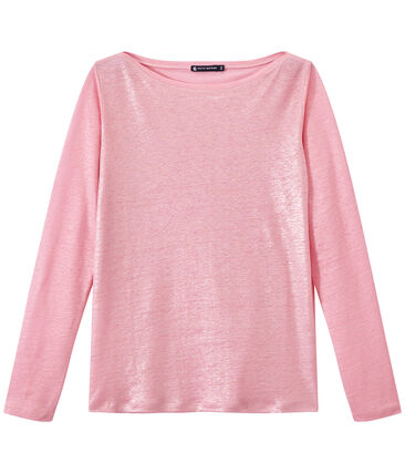 Linnen dames-T-shirt met lange mouwen en iriserend effect roze Babylone / grijs Argent