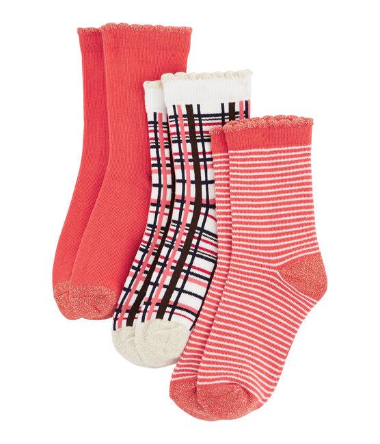 Lot de 3 paires de chaussettes enfant fille rouge Signal / blanc Multico